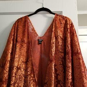 Anthropologie rust orange velvet shawl kimono